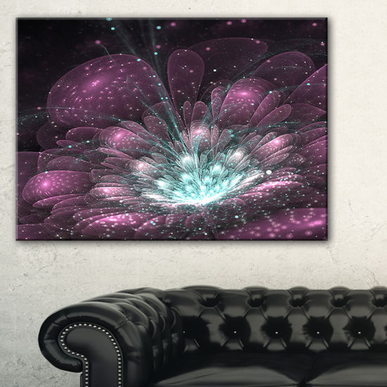 Designart Purple Fractal Flower Modern Canvas ArtPrint