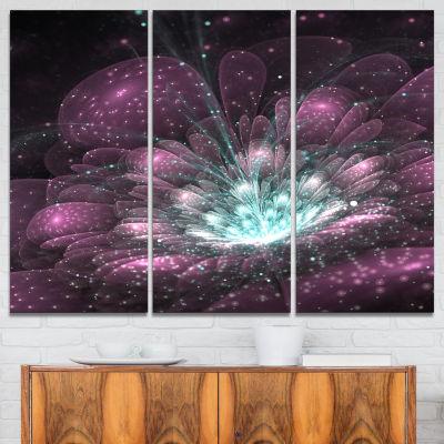 Designart Purple Fractal Flower Modern Canvas ArtPrint - 3 Panels