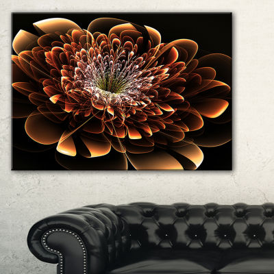 Designart Brown Fractal Flower Modern Canvas Art Print