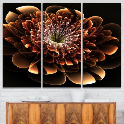 Designart Brown Fractal Flower Modern Canvas Art Print - 3 Panels