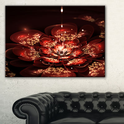 Designart Red Flowers In Fractal Pattern Canvas Art Print