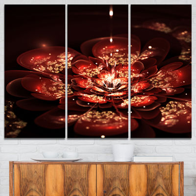Designart Red Flowers In Fractal Pattern Canvas Art Print - 3 Panels