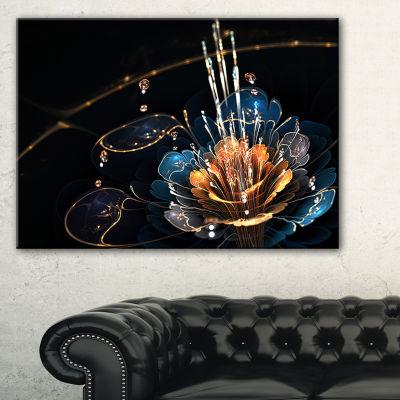 Designart Orange Blue Flower With Water Drops Canvas Art Print