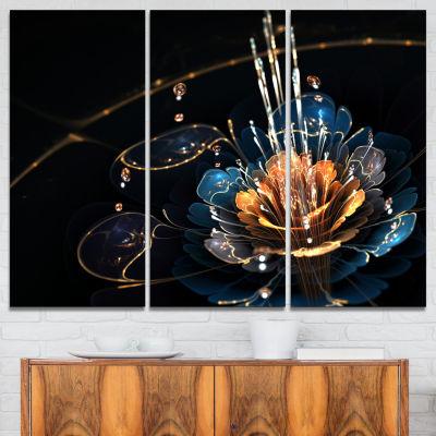 Designart Orange Blue Flower With Water Drops Canvas Art Print - 3 Panels