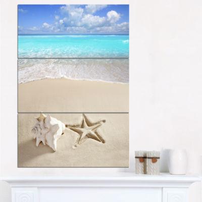 Designart Caribbean Beach Starfish Beach Photography Canvas Art Print - 3 Panels