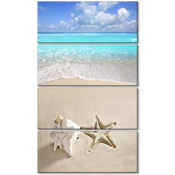 Designart Caribbean Beach Starfish Beach Photography Canvas Art Print - 4 Panels