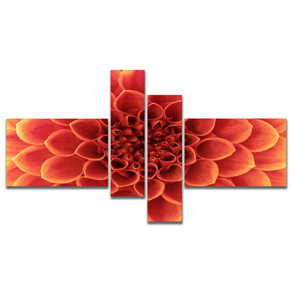 Designart Brown Flower With Dense Petals Photo Canvas Print - 4 Panels