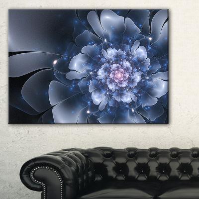 Designart Fractal Flower Light Blue Petals CanvasArt Print