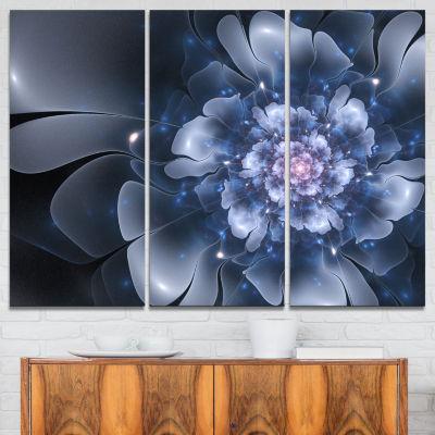 Designart Fractal Flower Light Blue Petals CanvasArt Print - 3 Panels