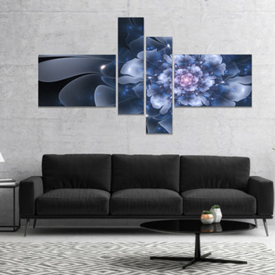 Designart Fractal Flower Light Blue Petals CanvasArt Print - 4 Panels
