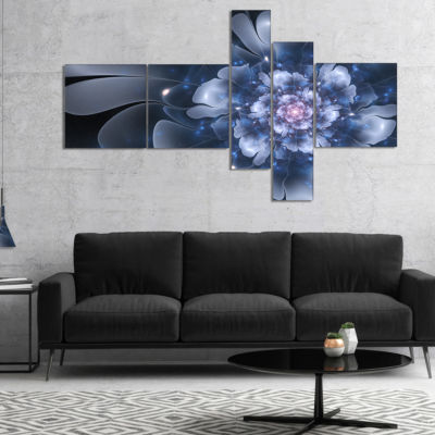 Designart Fractal Flower Light Blue Petals CanvasArt Print - 5 Panels