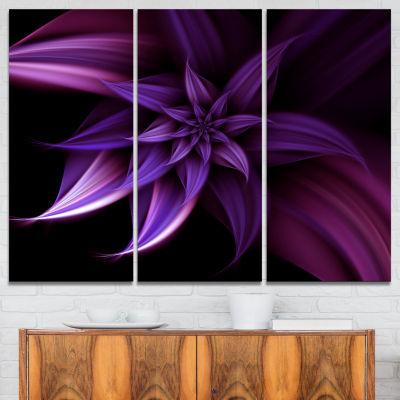 Designart Fractal Flower Purple Canvas Art Print -3 Panels