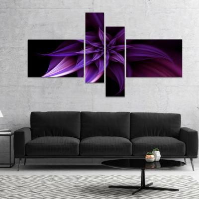 Designart Fractal Flower Purple Canvas Art Print -4 Panels