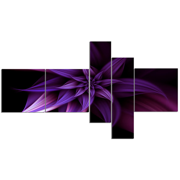 Designart Fractal Flower Purple Canvas Art Print -5 Panels