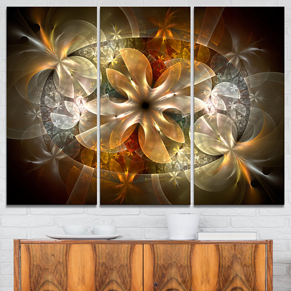 Designart Fractal Flower With Blue Details CanvasArt Print - 3 Panels