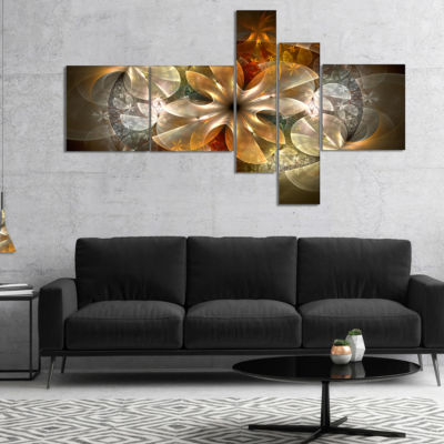 Designart Fractal Flower With Blue Details CanvasArt Print - 5 Panels