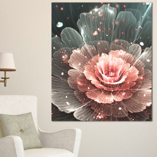 Designart Abstract Fractal Pink Gray Flower CanvasArt Print