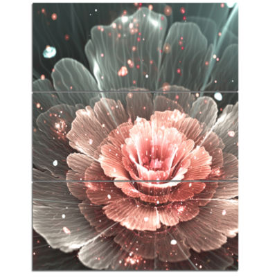 Designart Abstract Fractal Pink Gray Flower CanvasArt Print - 3 Panels