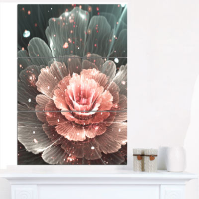 Designart Abstract Fractal Pink Gray Flower CanvasArt Print - 3 Panels
