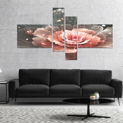 Designart Abstract Fractal Pink Gray Flower CanvasArt Print - 4 Panels
