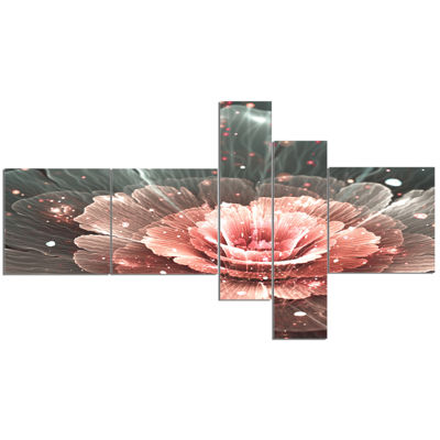 Designart Abstract Fractal Pink Gray Flower CanvasArt Print - 5 Panels