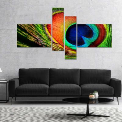 Designart Peacock Feather Photography Canvas Art Print - 4 Panels