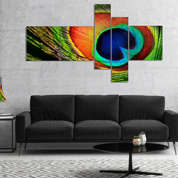 Designart Peacock Feather Photography Canvas Art Print - 5 Panels