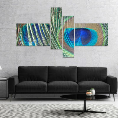 Designart Blue Peacock Feather Photography CanvasArt Print - 4 Panels