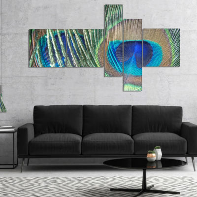Designart Blue Peacock Feather Photography CanvasArt Print - 5 Panels