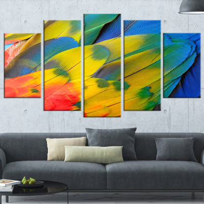 Designart Scarlet Macaw Feathers (373) PhotographyCanvas Art Print - 5 Panels