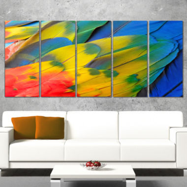 Designart Scarlet Macaw Feathers Photography Canvas Art Print   5 Panels
