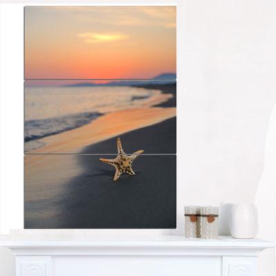 Designart Summer Beach With Starfish Beach And Shore Canvas Art Print - 3 Panels