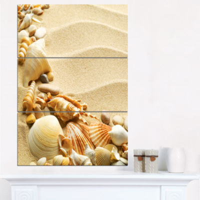 Designart Seashell Heap On Sand Beach And Shore Canvas Art Print - 3 Panels