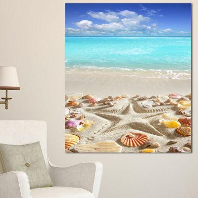 Designart Caribbean Sea Starfish Beach And Shore Canvas Art Print