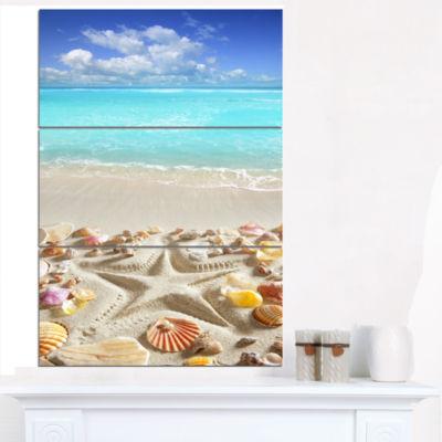 Designart Caribbean Sea Starfish Beach And Shore Canvas Art Print - 3 Panels