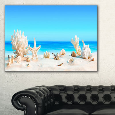 Designart Seashells On Tropical Beach Seashore Photo Canvas Print