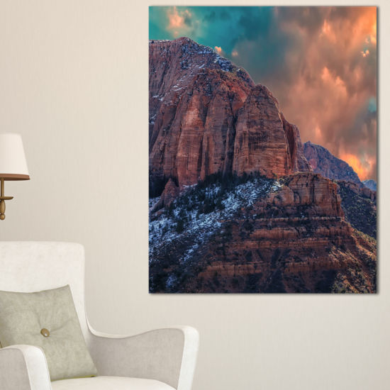 Designart Red Rock Under Sunrise Sky Landscape Photography Canvas Print
