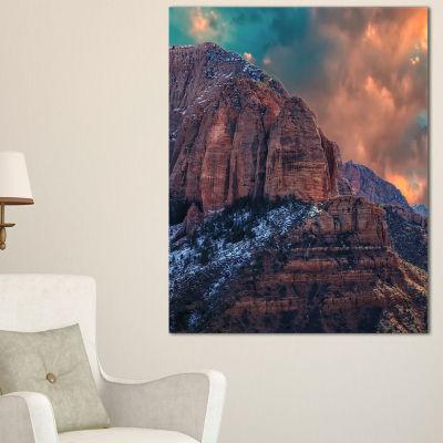 Designart Red Rock Under Sunrise Sky Landscape Photography Canvas Print