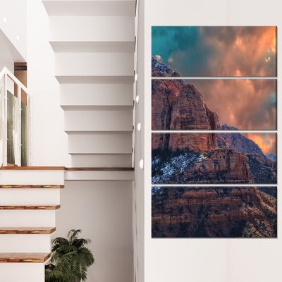 Designart Red Rock Under Sunrise Sky Landscape Photography Canvas Print - 4 Panels