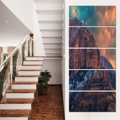 Designart Red Rock Under Sunrise Sky Landscape Photography Canvas Print - 5 Panels
