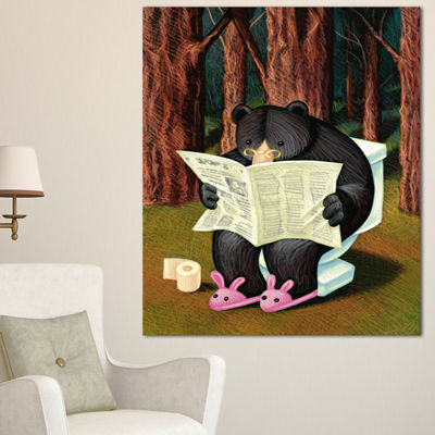 Designart Bear In The Woods Animal Canvas Art Print