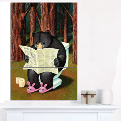 Designart Bear In The Woods Animal Canvas Art Print - 3 Panels