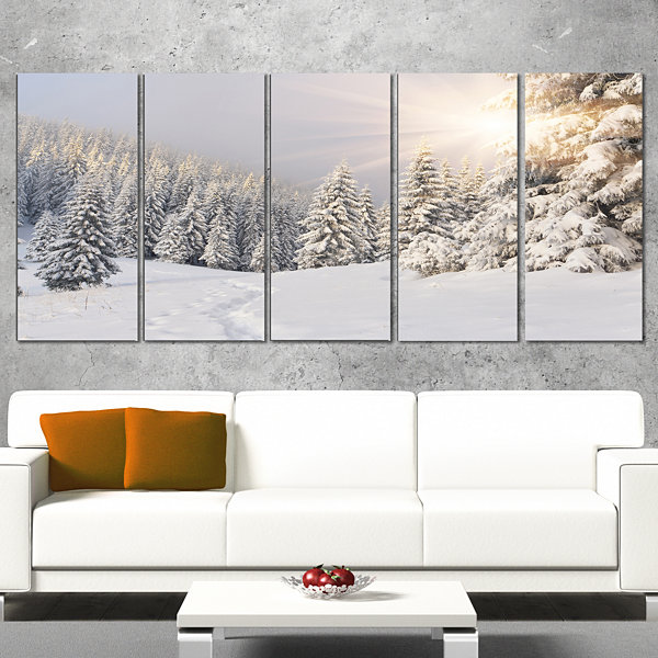 Designart Winter Sunrise Over Fir Trees LandscapePhotography Canvas Print - 5 Panels