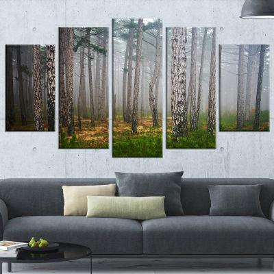 Designart Dense Misty Forest Landscape PhotographyCanvas Art Print   5 Panels
