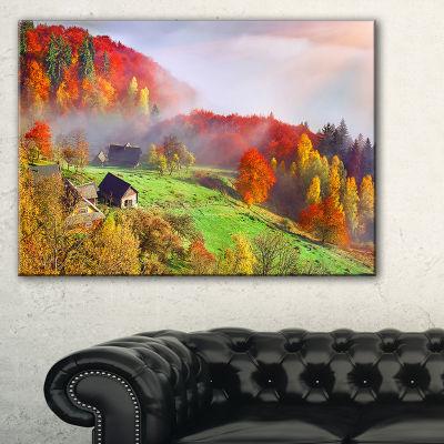 Designart Colorful Mountain Village Landscape Photo Canvas Art Print