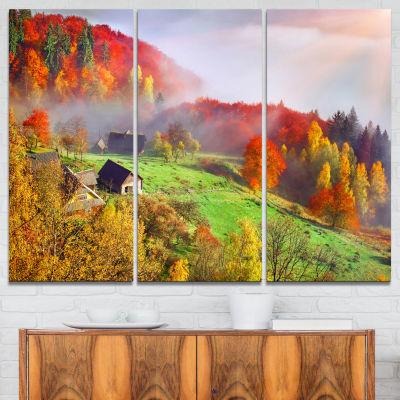 Designart Colorful Mountain Village Landscape Photo Canvas Art Print - 3 Panels