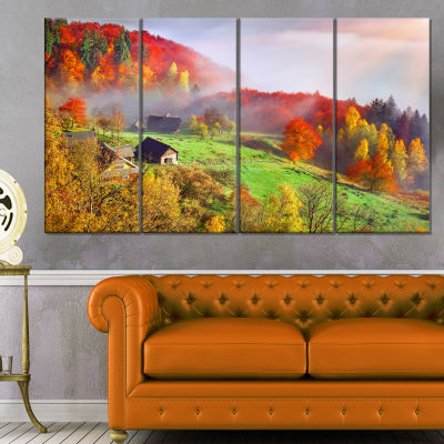 Designart Colorful Mountain Village Landscape Photo Canvas Art Print - 4 Panels