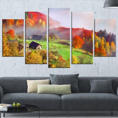 Designart Colorful Mountain Village Landscape Photo Canvas Art Print   5 Panels
