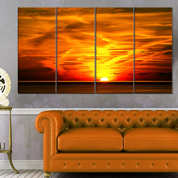 Designart Sunset In Liguria Italy Landscape Photography Canvas Art Print - 4 Panels