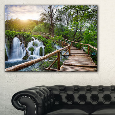 Designart Pathway In Plitvice Lakes Landscape Photography Canvas Art Print